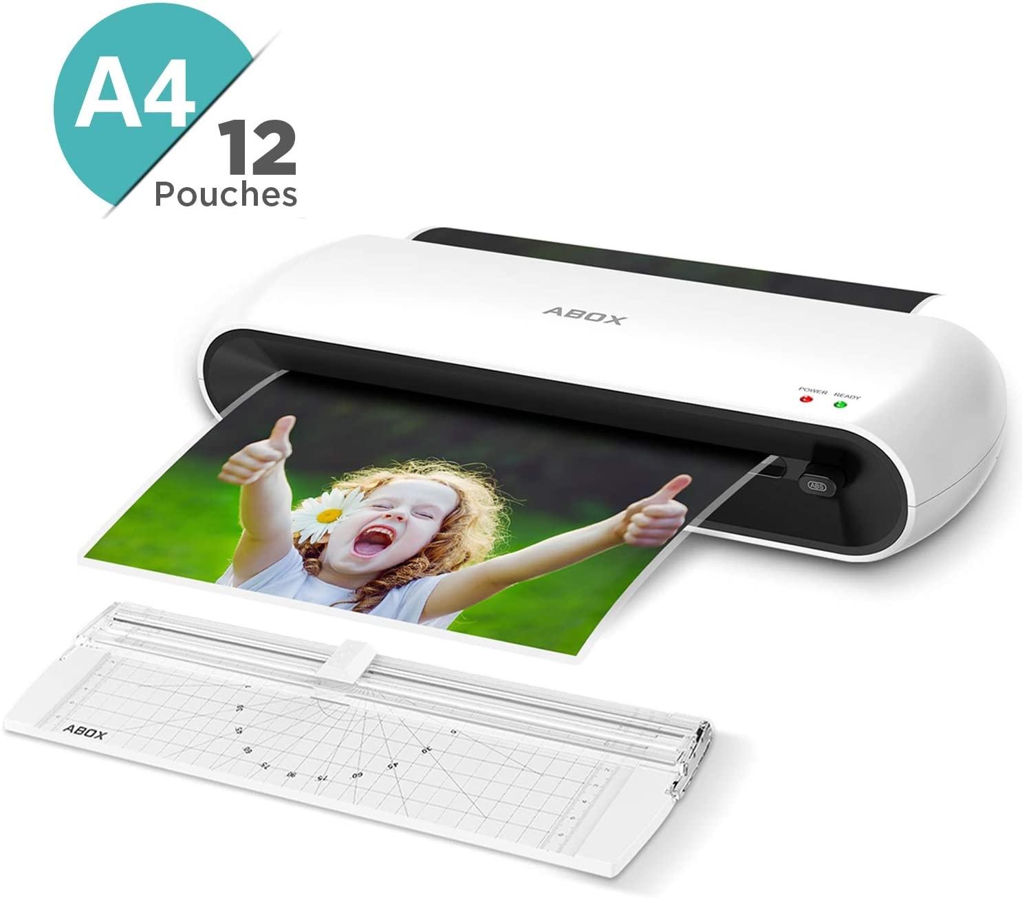 Laminator, ABOX A4 Laminator OL145, Thermal Laminating Machine, Jam-Release Switch with 12 Laminating Pouches, Paper Trimmer, Quick Warm-up Speed for Documents, Photos, Cards Lamination uk reviews