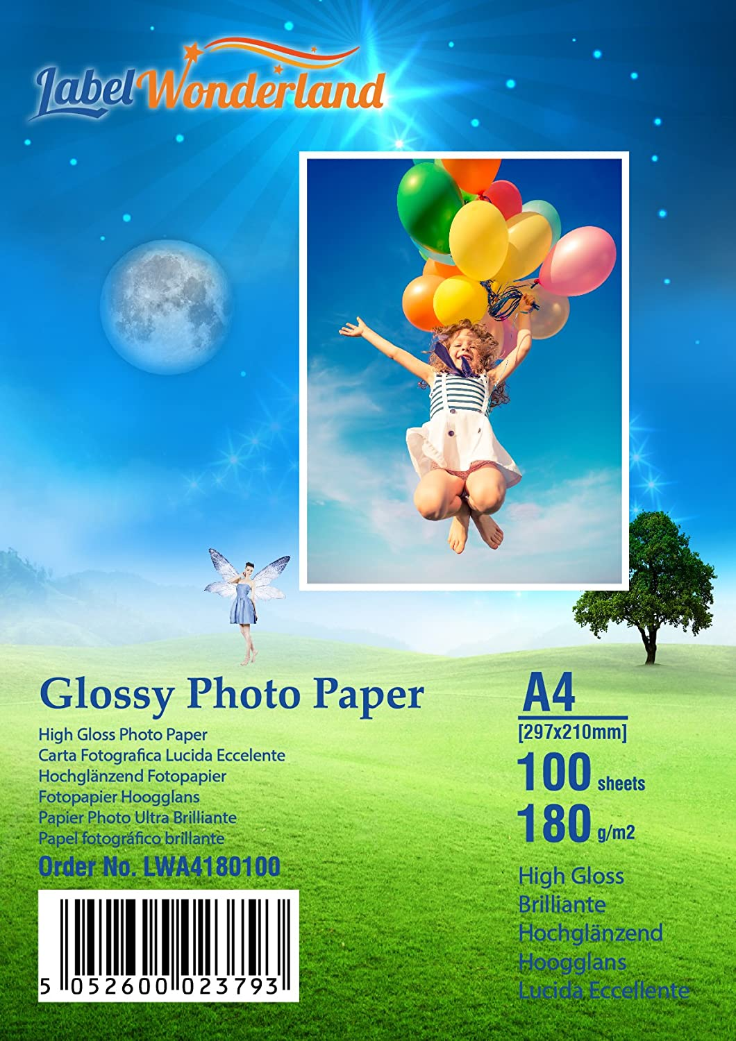 100 Sheets 180 GSM High Gloss A4 (210 mm x 297 mm) Photo Paper for Inkjet Printers Glossy LW uk reviews
