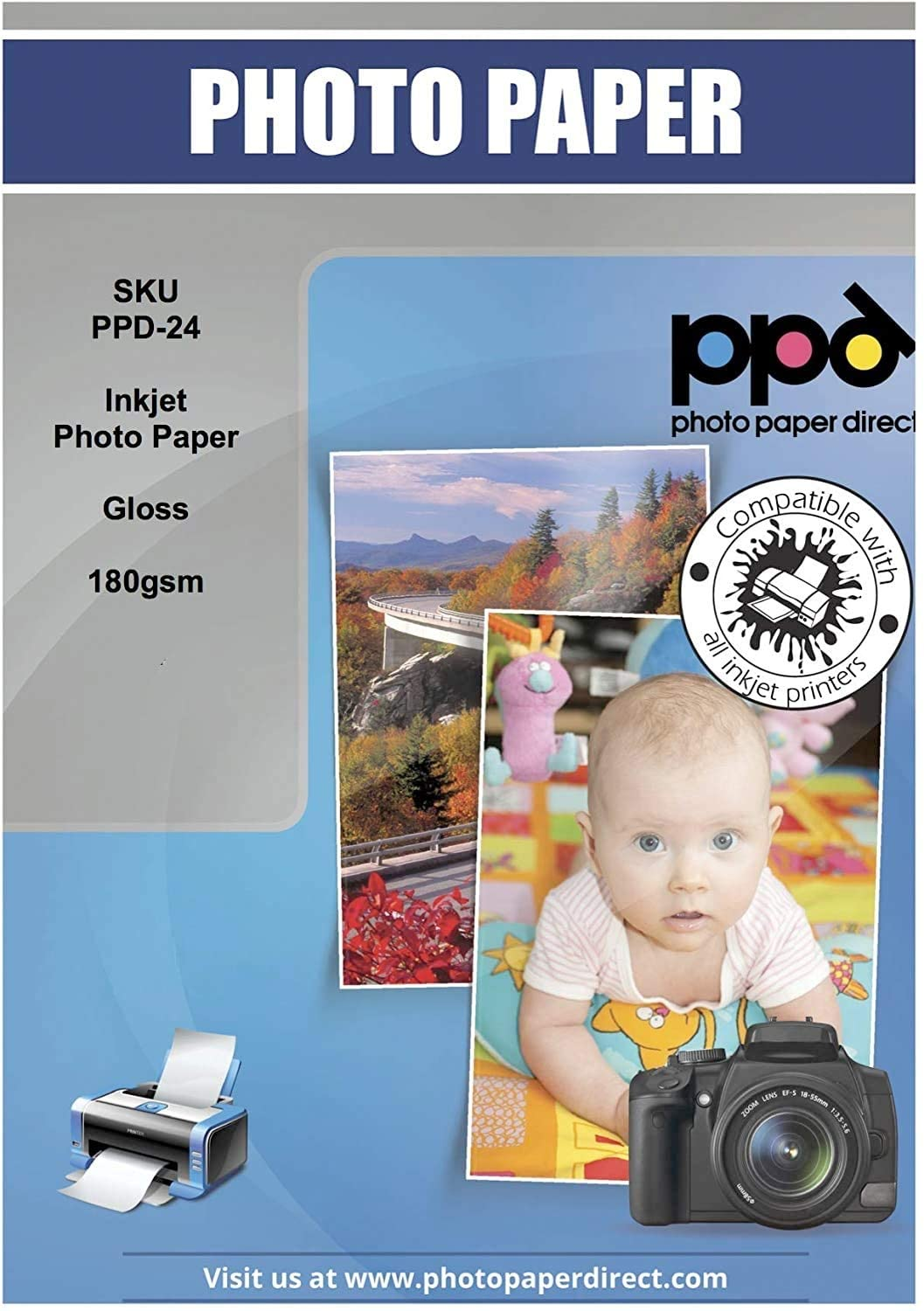 PPD Inkjet Glossy Photo Paper 180g A4 X 50 Sheets PPD-24-50 uk reviews