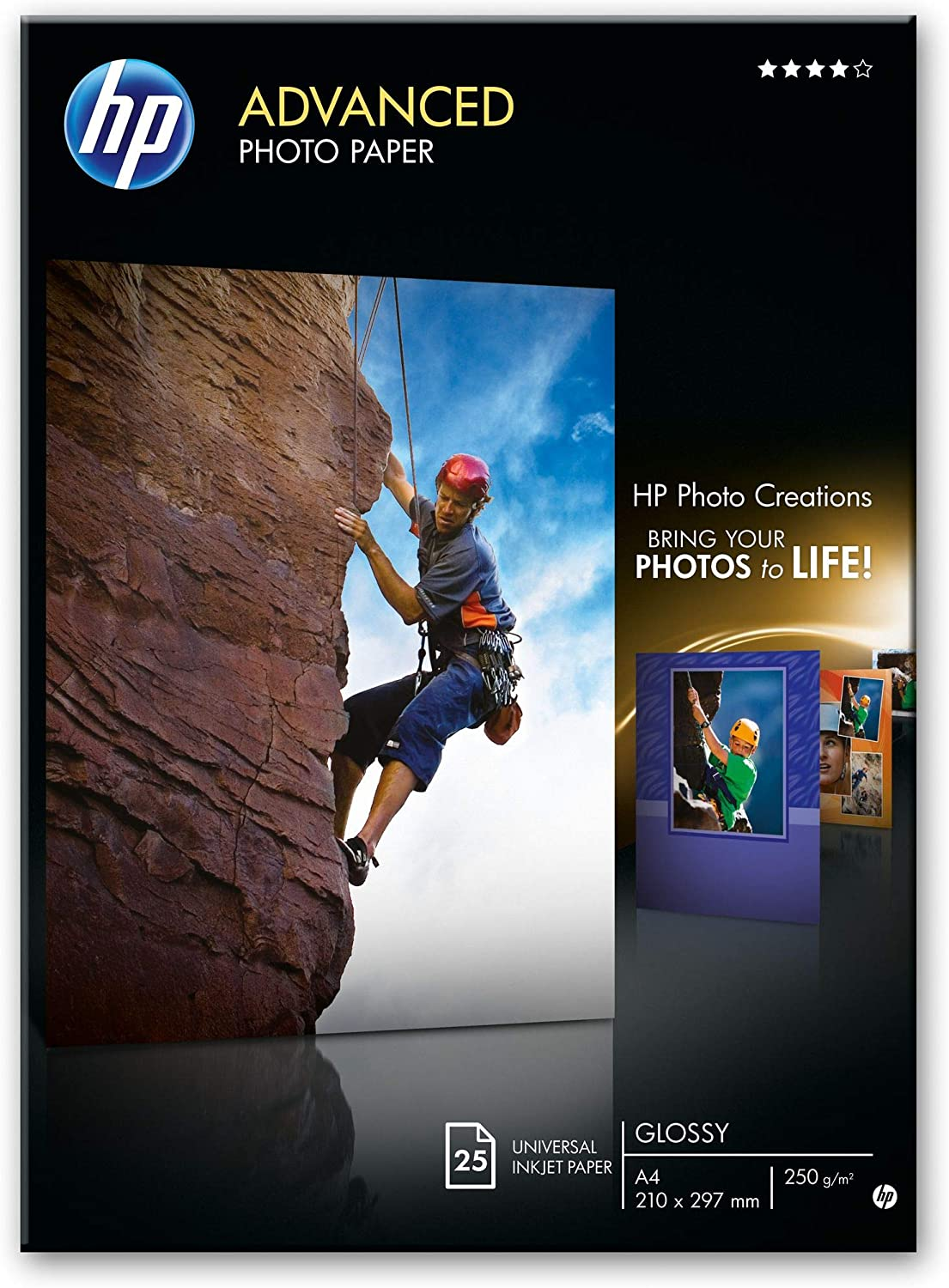 HP Q5456A, A4 210 x 297 mm, Advanced Glossy Photo Paper, 250 gsm, 25 Sheets uk reviews