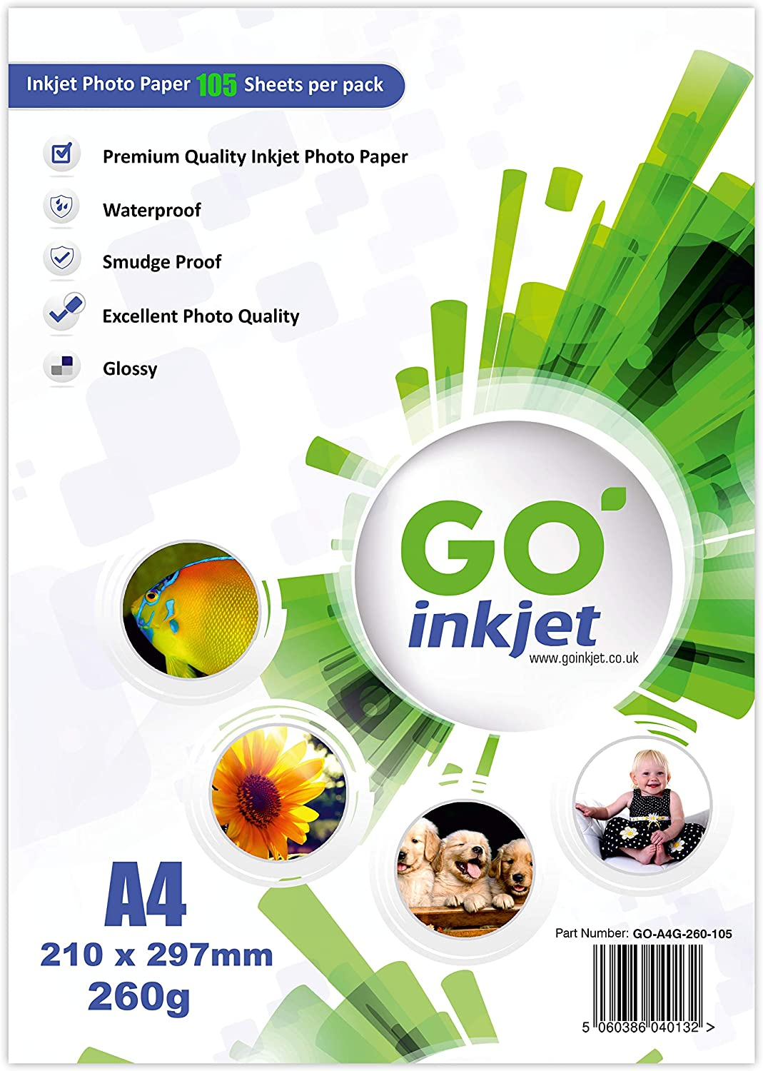 GO Inkjet A4 Glossy Photo Paper, 260gsm, 100 Sheets Plus an Extra 5 Sheets Best Inkjet Photo Paper uk reviews