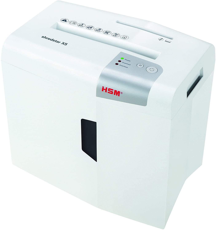 HSM 1043821 shredstar X5, 5 sheet cross-cut shredder for paper credit cards CDs, white silver uk reviews