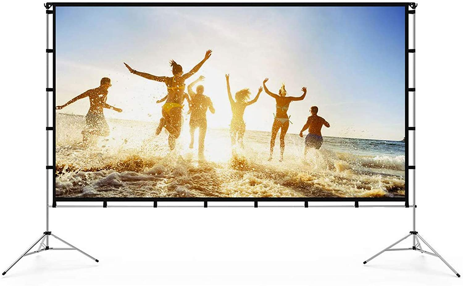 Vamvo Outdoor Indoor Projector Screen with Stand Foldable Portable Movie Screen 120 Inch Full-Set Bag for Home Theatre Camping and Recreational Events uk reviews