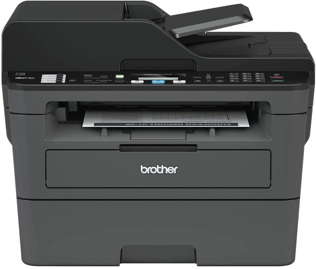 Brother MFC-L2710DW Mono Laser Printer - All-in-One, Wireless USB 2.0, Printer Scanner Copier Fax Machine, 2 Sided Printing, A4 Printer, Small Office Home Office Printer
